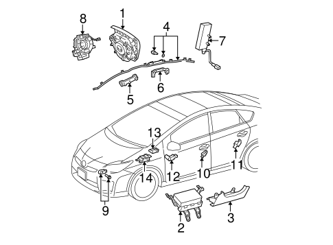 Air Bag Components for 2012 Toyota Prius Plug-In #0