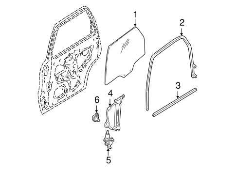 Body/Glass - Rear Door for 2001 Ford Escape #1