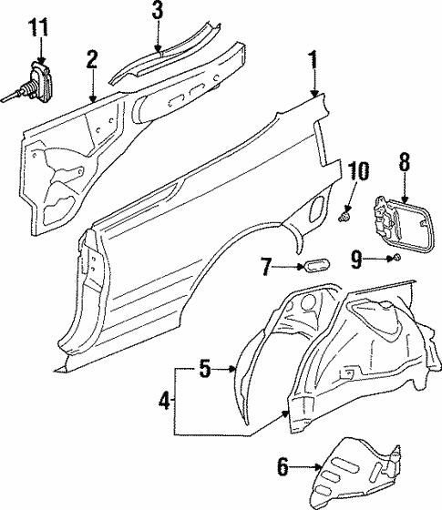 Quarter Panel Components For 1996 Volkswagen Cabrio