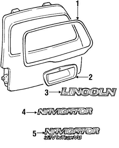 Exterior Trim Lift Gate For 1998 Lincoln Navigator Oemfordstore