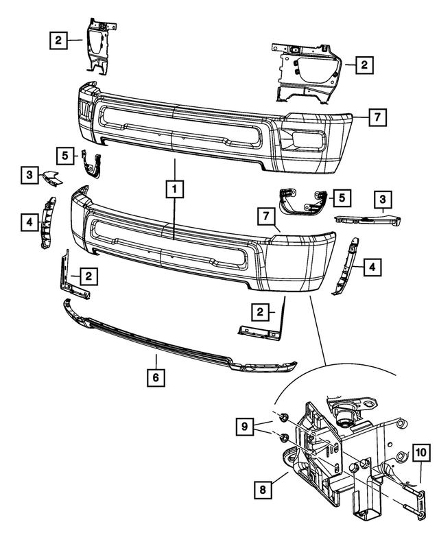 Genuine Mopar Front Bumper Bracket 5104505AA