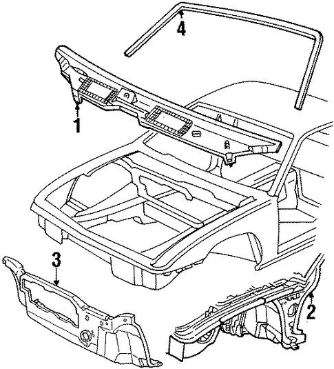 oem 1987 pontiac fiero cowl trim parts