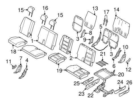Rear Seat Components For 2009 Ford Taurus X