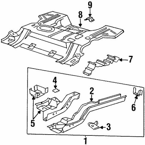 rear floor & rails for 1998 oldsmobile aurora #0