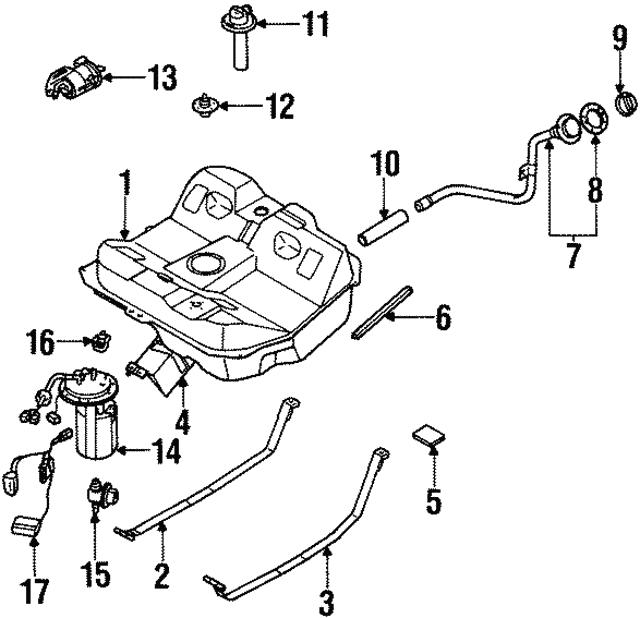 2000 2001 Kia Sephia Fuel Pump 0k2na 1335zds