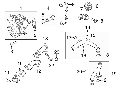 Land Rover Engine Coolant Water Pump Assembly with Gaskets /& Bolts for Jaguar