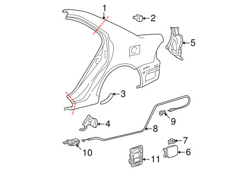 Quarter Panel Components For 2005 Toyota Corolla