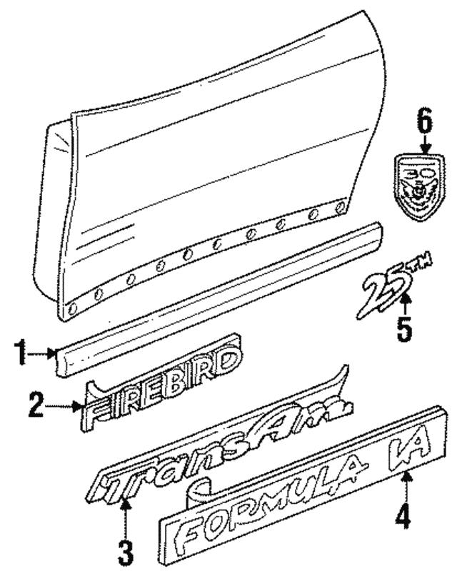 body side molding gm 10166786 gmpartsdirect 2002 Pontiac Firebird body side molding
