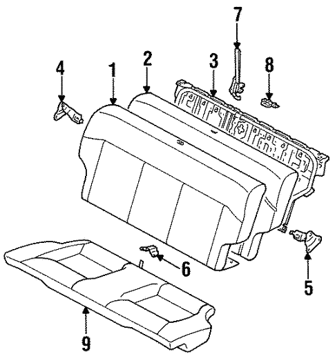 Rear Seat Components For 1997 Toyota Paseo