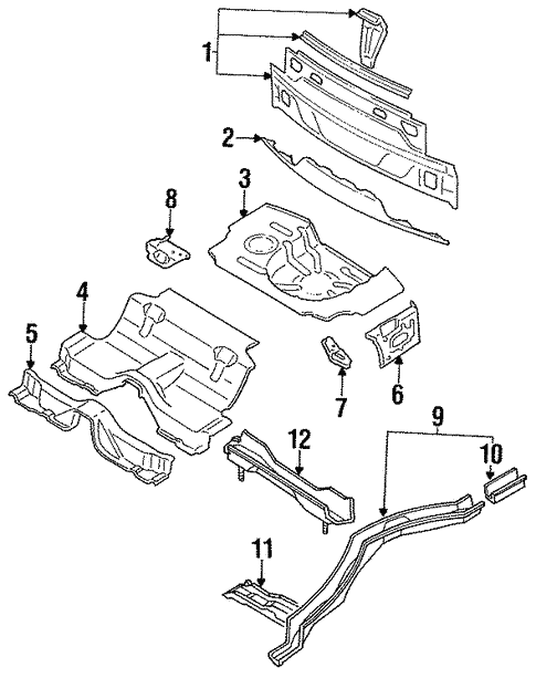 Rear Floor & Rails for 1991 Nissan 240SX | Courtesy Parts