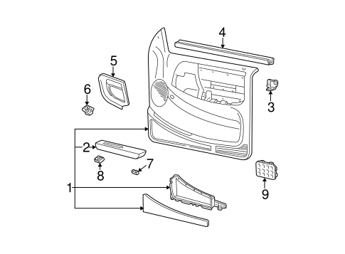 Interior Trim - Front Door for 2000 Ford Ranger #0