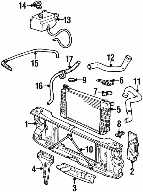 Oem Radiator Support For 1993 Chevrolet K2500 Pickup