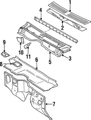 cowl for 1997 jeep cherokee parts wermopar wer mopar. Black Bedroom Furniture Sets. Home Design Ideas