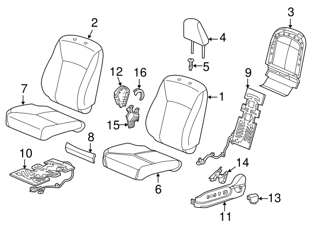 Rear Honda Genuine 82531-T0G-A11ZB Seat Cushion Trim Cover Left