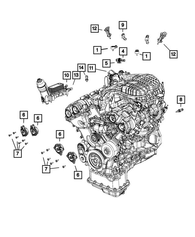 Engine Coolant Temperature Sensor Mopar 68164627AA