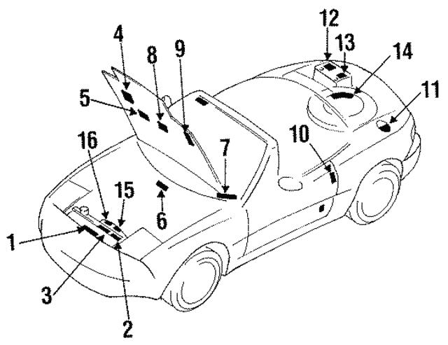 1988 1998 Mazda Caution Label 0488 15 201