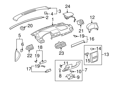 Instrument Panel Components For 2009 Pontiac G5