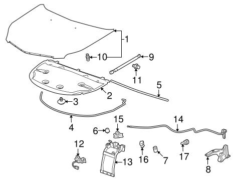 oem 2012 cadillac srx hood components parts gm parts club. Black Bedroom Furniture Sets. Home Design Ideas