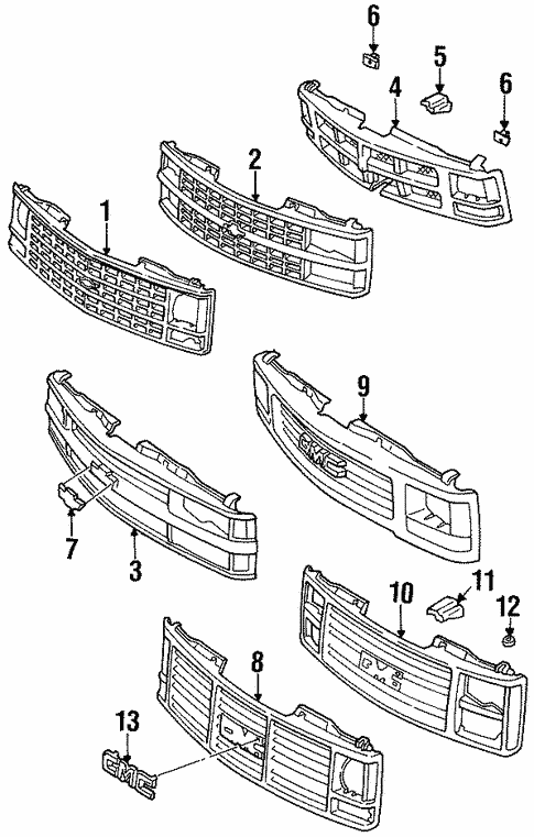 oem 1993 chevrolet k1500 pickup grille  u0026 components parts