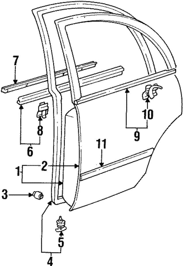 1993 1997 Toyota Corolla Belt Molding 75730 12170