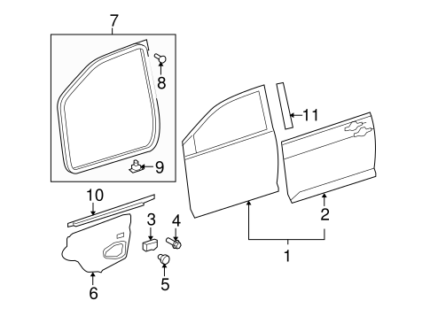 BODY/EXTERIOR TRIM - FRONT DOOR for 2011 Toyota Yaris #2