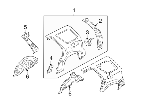 Body/Inner Structure for 2001 Ford Escape #1