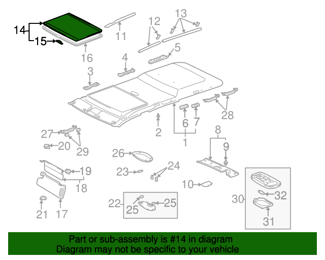 Toyota Genuine 63311-AA020-A0 Roof Headlining Assembly