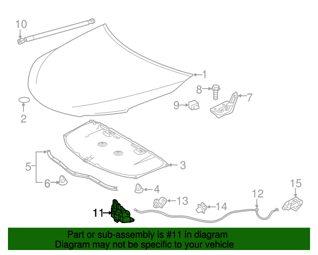 Toyota 53510-06280 Hood Lock Assembly