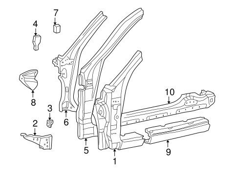 BODY/HINGE PILLAR for 2002 Toyota Solara #2