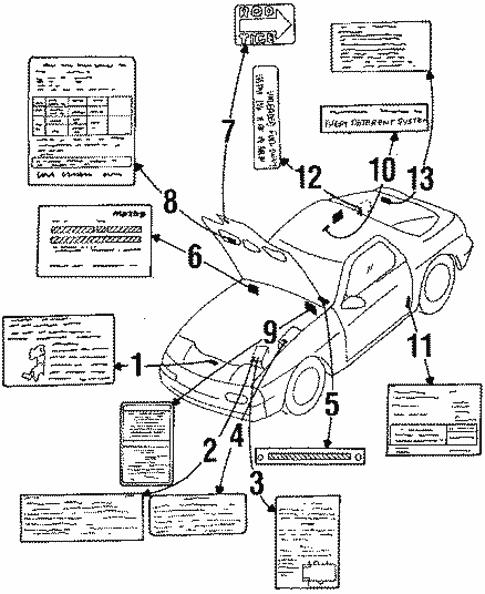 Genuine Oem Labels Parts For 1987 Mazda Rx 7 Turbo