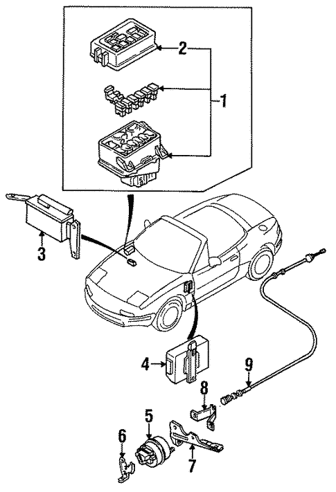 Components Under Hood For 1993 Mazda Miata