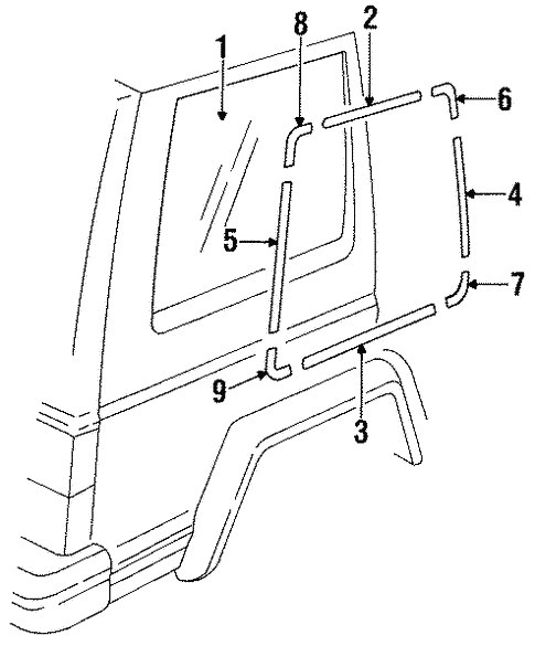 Glass Hardware For 1996 Jeep Cherokee