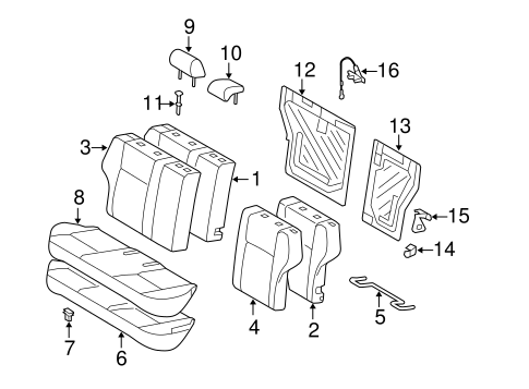 Rear Seat Components For 2013 Toyota Corolla