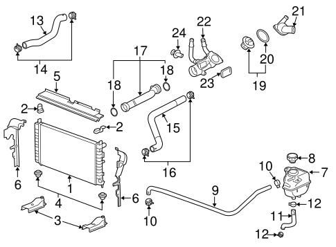 radiator components for 2010 chevrolet malibu. Black Bedroom Furniture Sets. Home Design Ideas