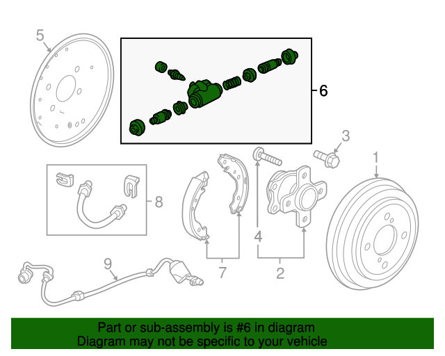 Genuine Honda 43300-SH5-003 Drum Brake Wheel Cylinder Assembly
