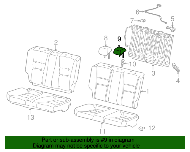 Rear Honda Genuine 82940-T3L-A21ZB Headrest Assembly
