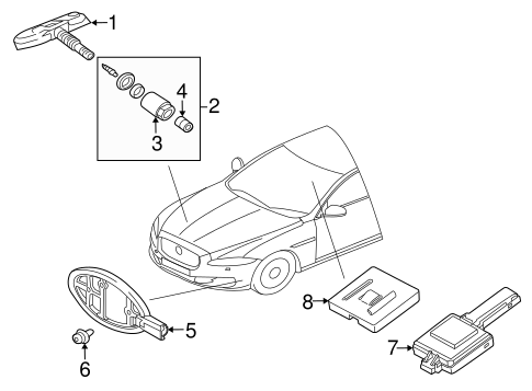 Tire Pressure Monitor Components For 2017 Jaguar Xj