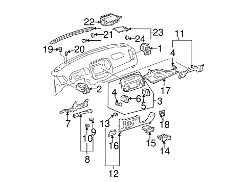 Instrument Panel Components For 2003 Toyota Camry