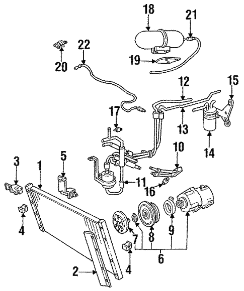 Condenser Compressor Lines For 1994 Lincoln Mark Viii