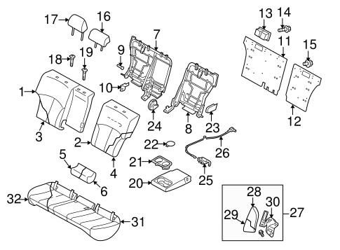 Rear Seat Components For 2011 Subaru Legacy
