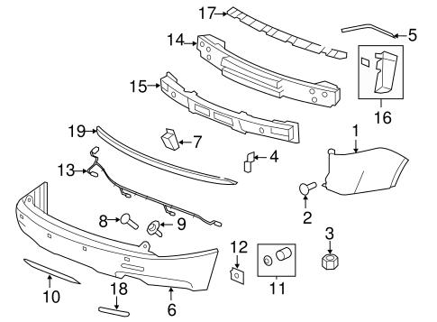 oem 2007 gmc acadia bumper components rear parts. Black Bedroom Furniture Sets. Home Design Ideas