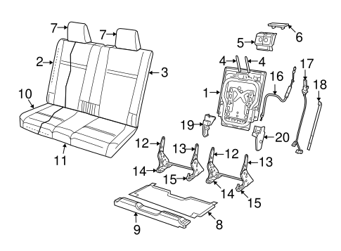Rear Seat Components For 2009 Dodge Journey
