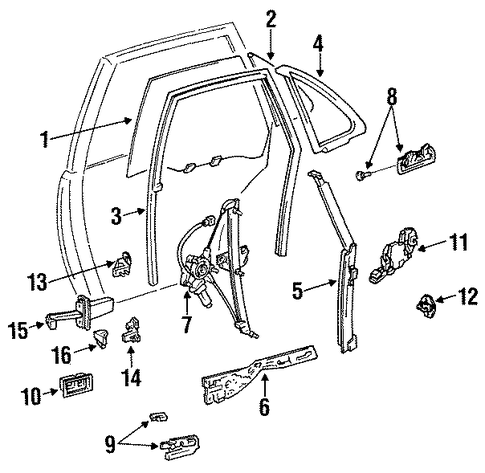BODY/GLASS - REAR DOOR for 1996 Toyota Camry #1