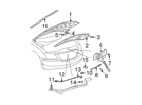Hood Components For 2004 Chrysler Pacifica