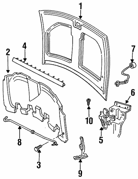 hood  u0026 components for 1998 ford windstar