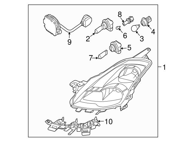 Genuine Nissan 62245-JA00A Headlamp Retaining Bracket