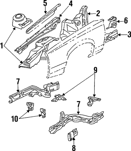 oem 1990 buick skylark structural components  u0026 rails parts
