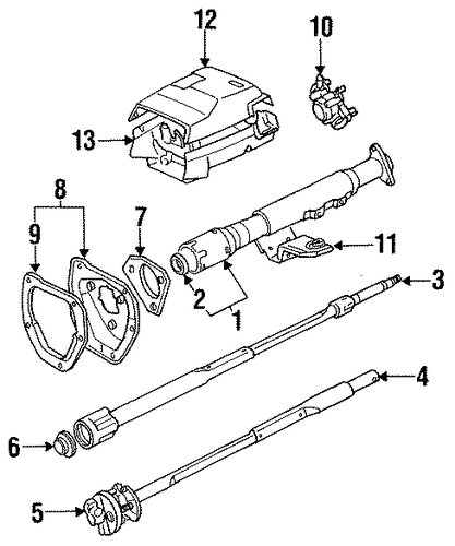 steering column assembly for 1986 toyota pickup