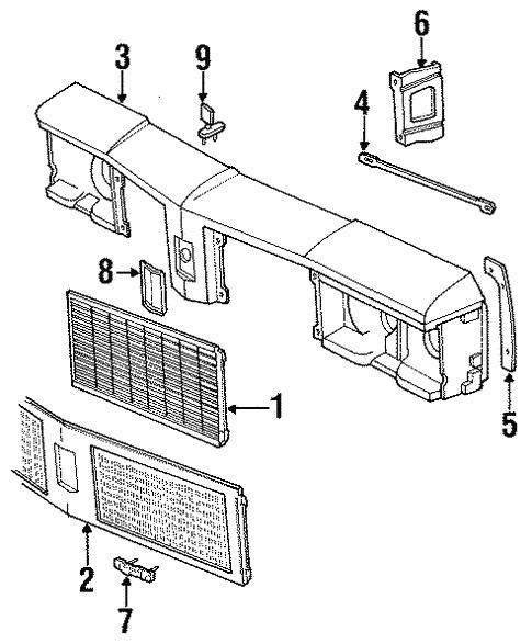 Oem 1990 Oldsmobile Custom Cruiser Grille Components Parts