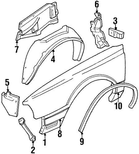 oem 1989 oldsmobile delta 88 fender  u0026 components parts